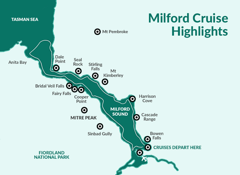 Milford Sound cruise map
