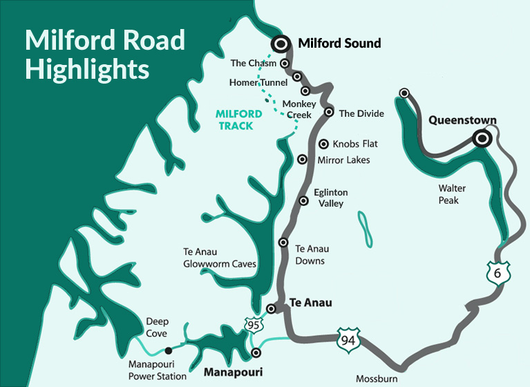Milford sound maps milford sound milford road map sciox Choice Image