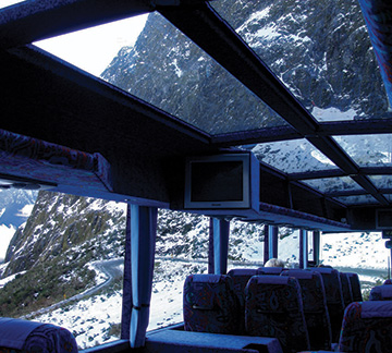 Milford Sound coach glass roof
