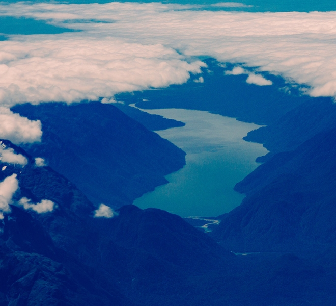 Milford Sound aerial view clouds