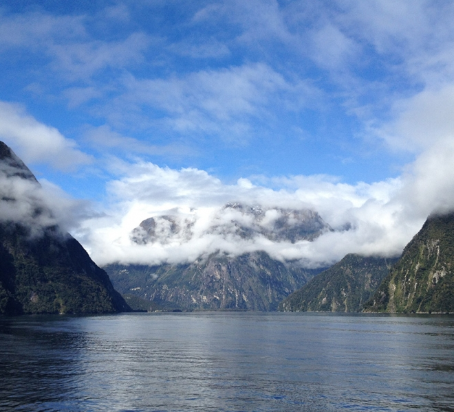 Milford Sound low-lying cloud