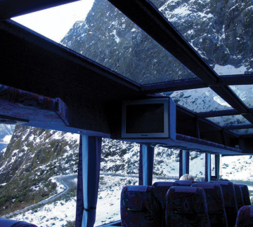 Milford Sound glass roof coach
