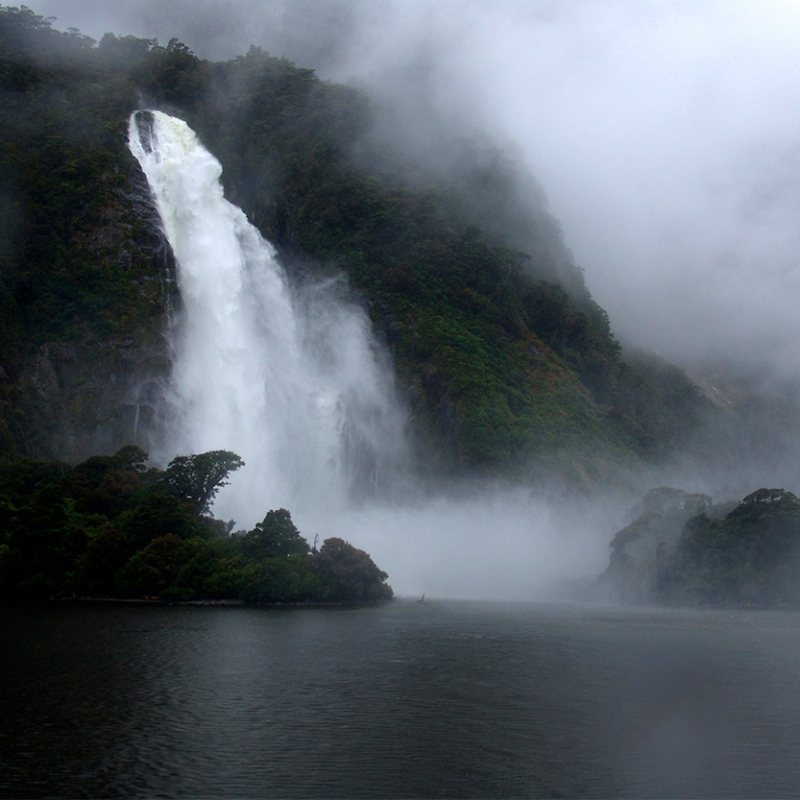 Waterfall and rain in Milford Sound